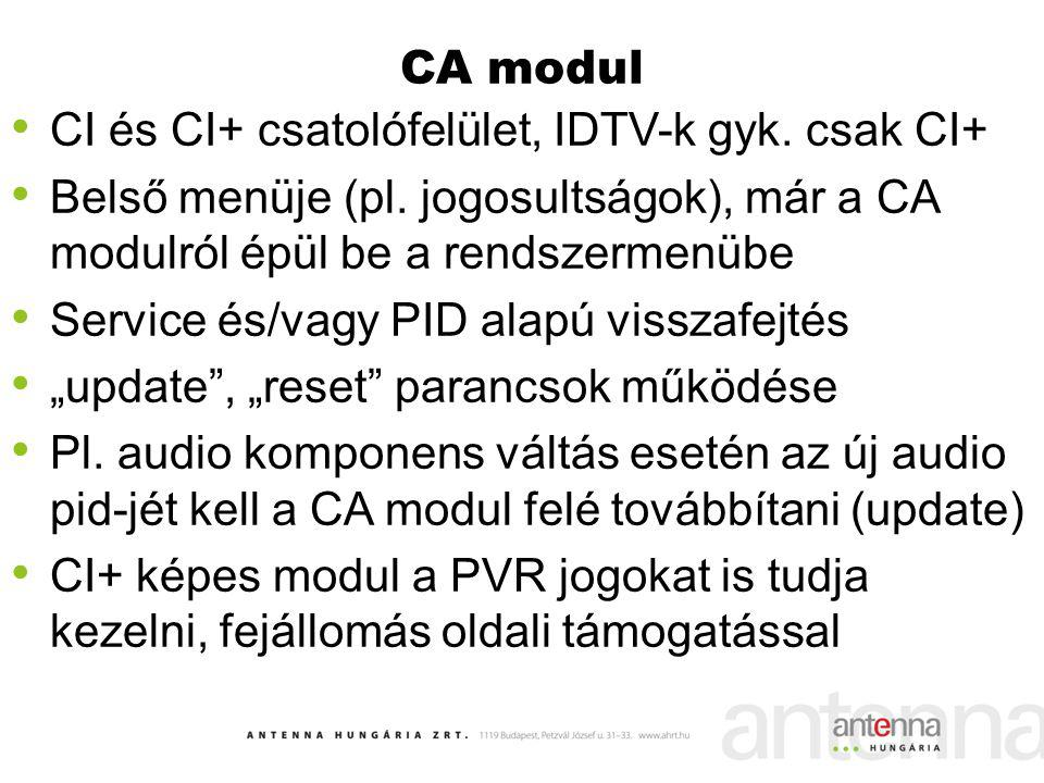 CA modul CI és CI+ csatolófelület, IDTV-k gyk. csak CI+ Belső menüje (pl. jogosultságok), már a CA modulról épül be a rendszermenübe.