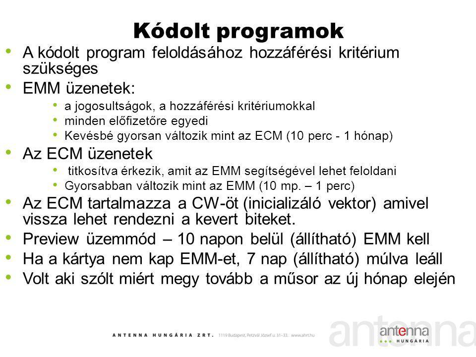 Kódolt programok A kódolt program feloldásához hozzáférési kritérium szükséges. EMM üzenetek: a jogosultságok, a hozzáférési kritériumokkal.