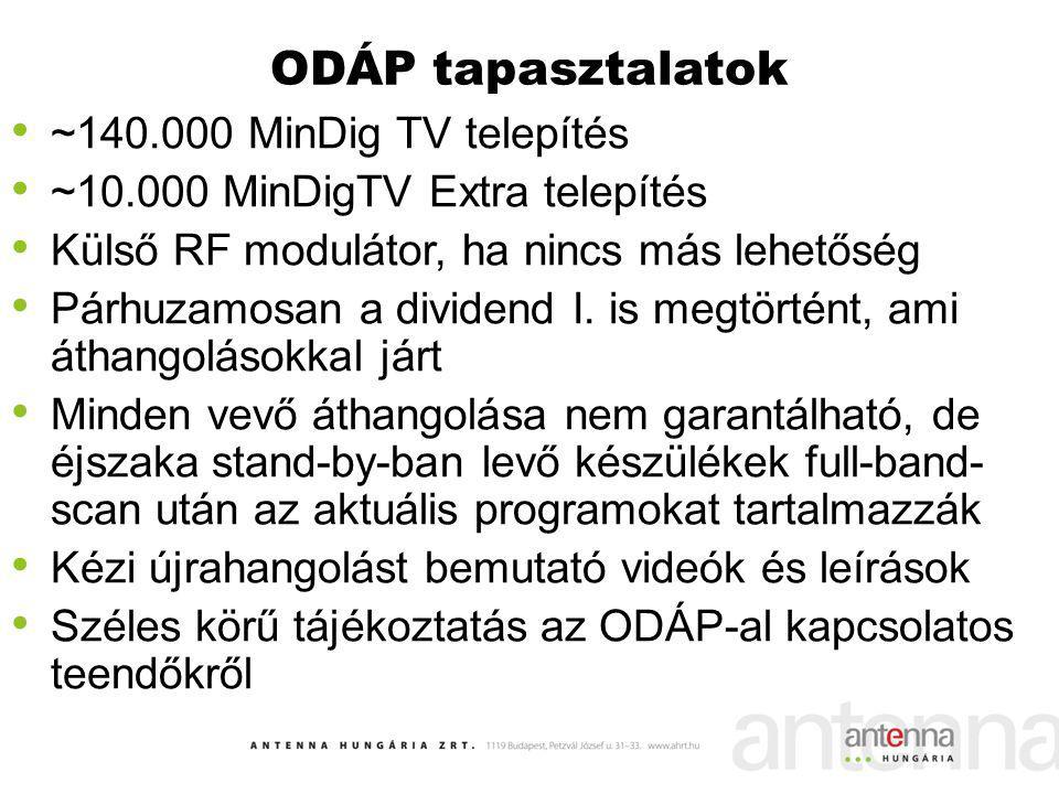 ODÁP tapasztalatok ~140.000 MinDig TV telepítés