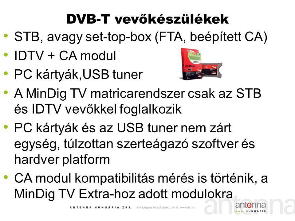 DVB-T vevőkészülékek STB, avagy set-top-box (FTA, beépített CA) IDTV + CA modul. PC kártyák,USB tuner.