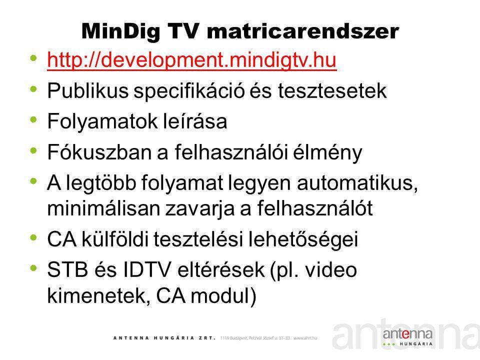 MinDig TV matricarendszer