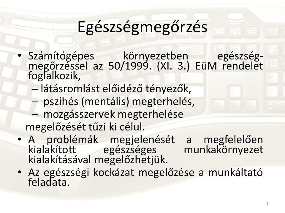 Egészségmegőrzés Számítógépes környezetben egészség-megőrzéssel az 50/1999. (XI. 3.) EüM rendelet foglalkozik,