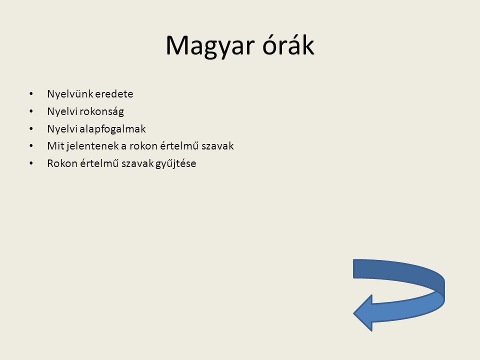 Magyar órák Nyelvünk eredete Nyelvi rokonság Nyelvi alapfogalmak