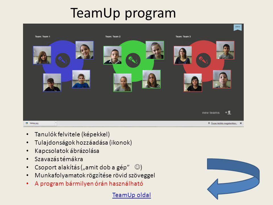TeamUp program Tanulók felvitele (képekkel)