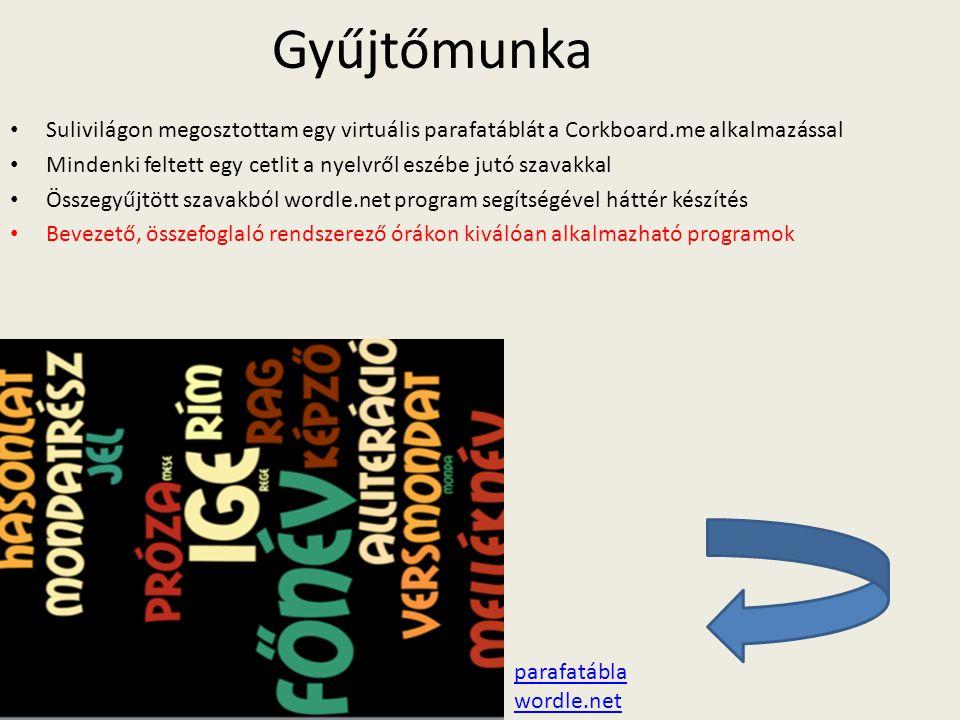 Gyűjtőmunka Sulivilágon megosztottam egy virtuális parafatáblát a Corkboard.me alkalmazással.