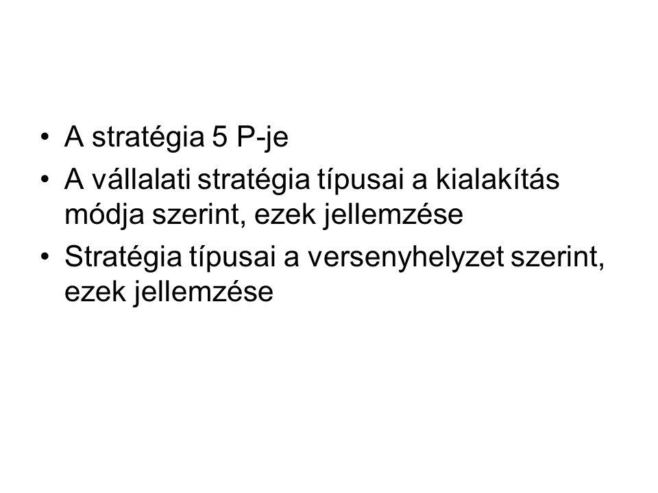 A stratégia 5 P-je A vállalati stratégia típusai a kialakítás módja szerint, ezek jellemzése.