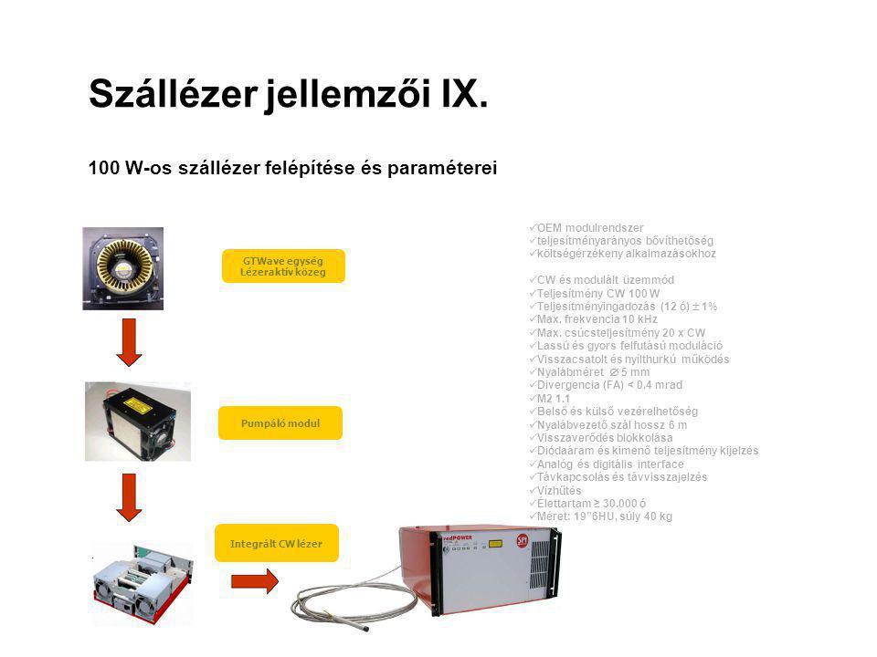 Szállézer jellemzői IX. 100 W-os szállézer felépítése és paraméterei