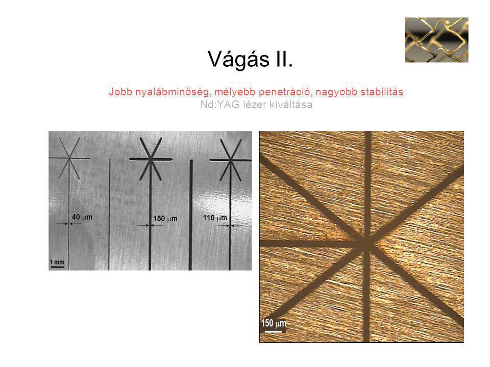 Vágás II. Jobb nyalábminőség, mélyebb penetráció, nagyobb stabilitás Nd:YAG lézer kiváltása