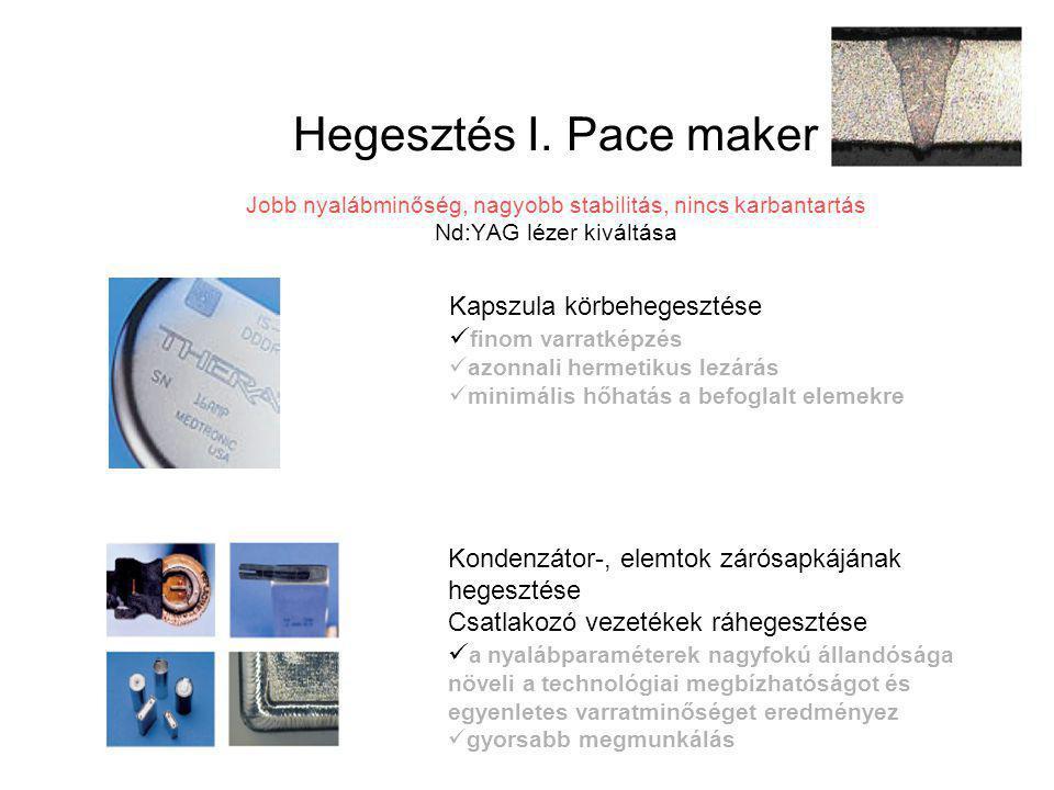 Hegesztés I. Pace maker Jobb nyalábminőség, nagyobb stabilitás, nincs karbantartás Nd:YAG lézer kiváltása