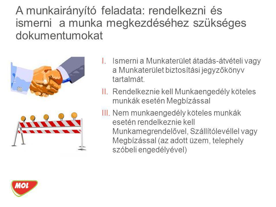 A munkairányító feladata: rendelkezni és ismerni a munka megkezdéséhez szükséges dokumentumokat
