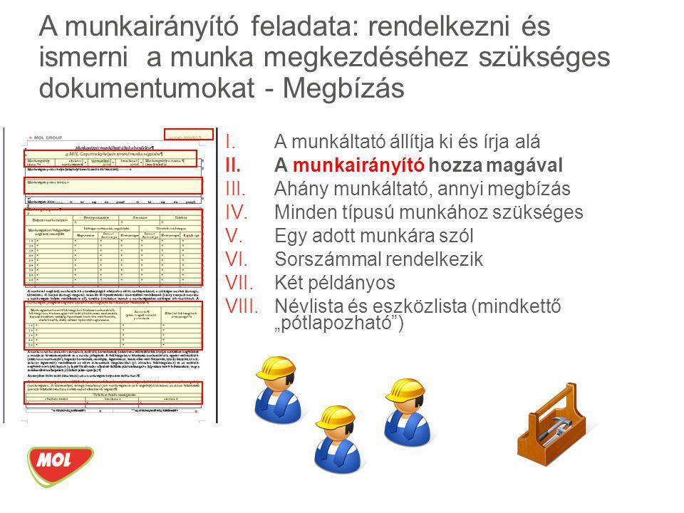 A munkairányító feladata: rendelkezni és ismerni a munka megkezdéséhez szükséges dokumentumokat - Megbízás