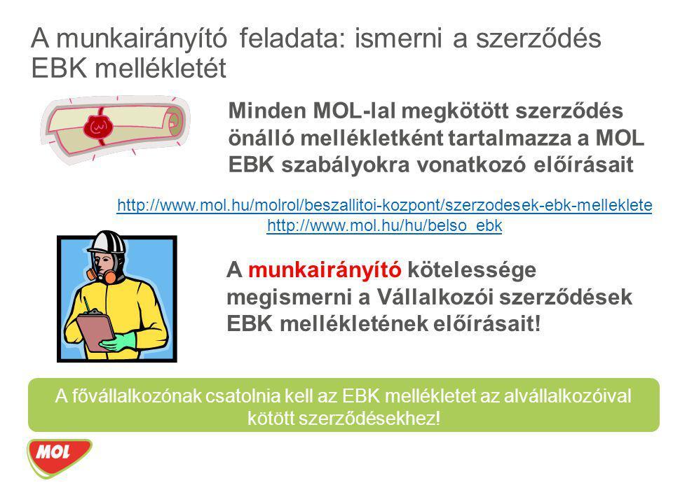 A munkairányító feladata: ismerni a szerződés EBK mellékletét