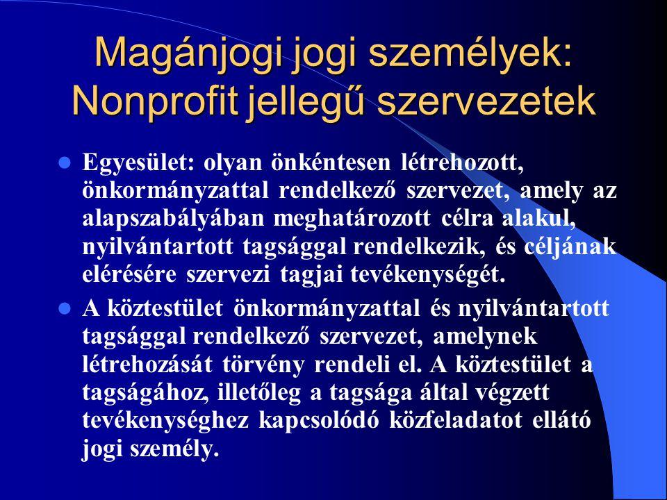 Magánjogi jogi személyek: Nonprofit jellegű szervezetek