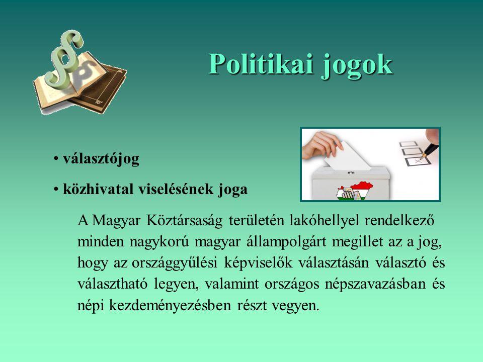 Politikai jogok választójog közhivatal viselésének joga