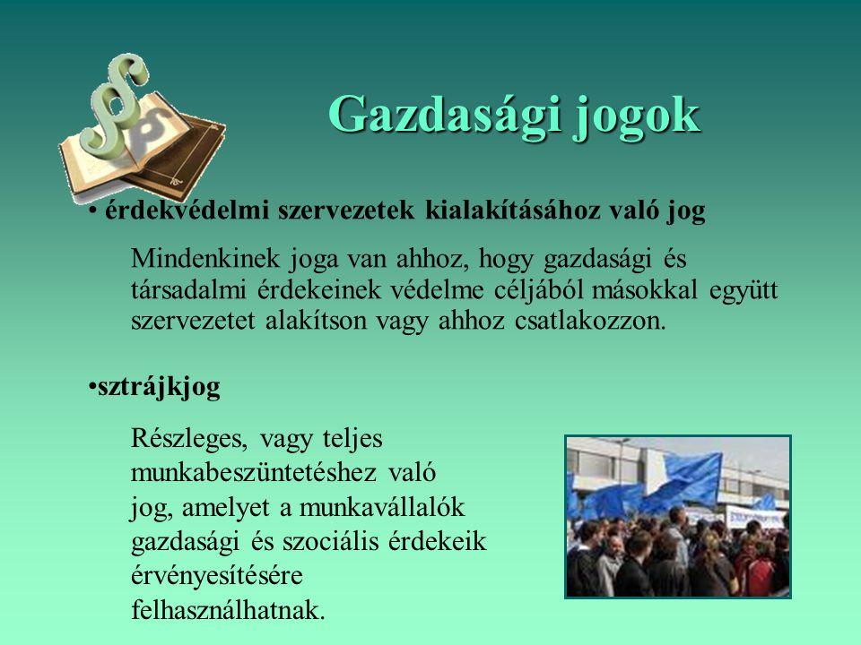 Gazdasági jogok érdekvédelmi szervezetek kialakításához való jog