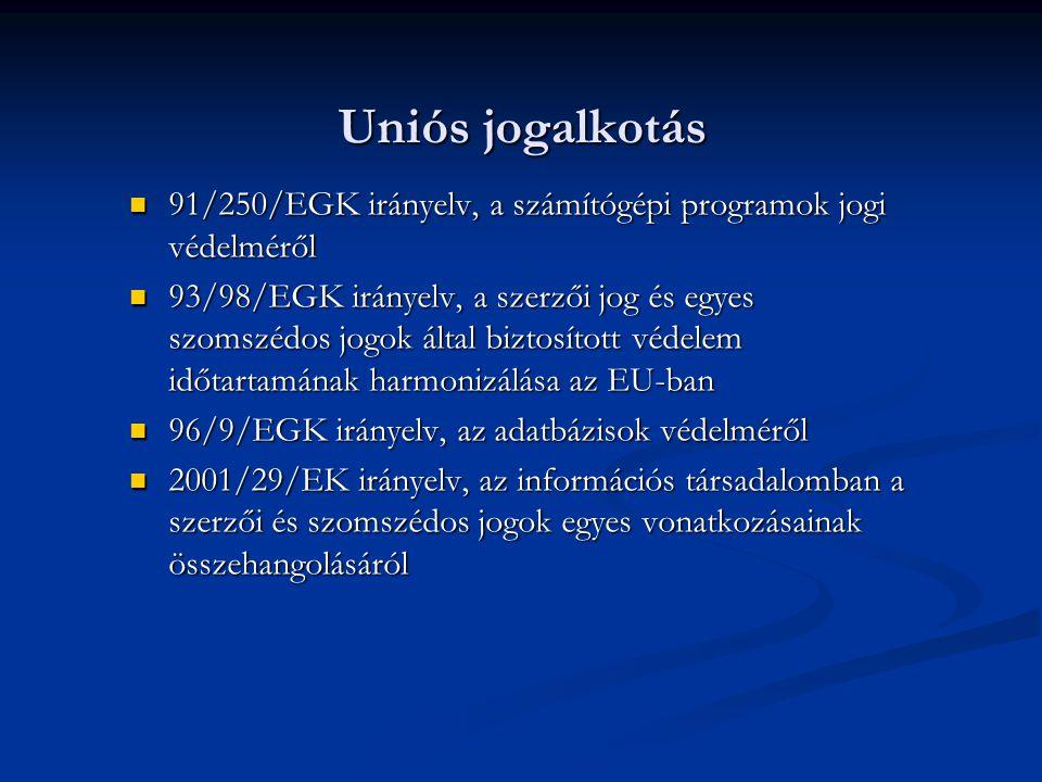 Uniós jogalkotás 91/250/EGK irányelv, a számítógépi programok jogi védelméről.