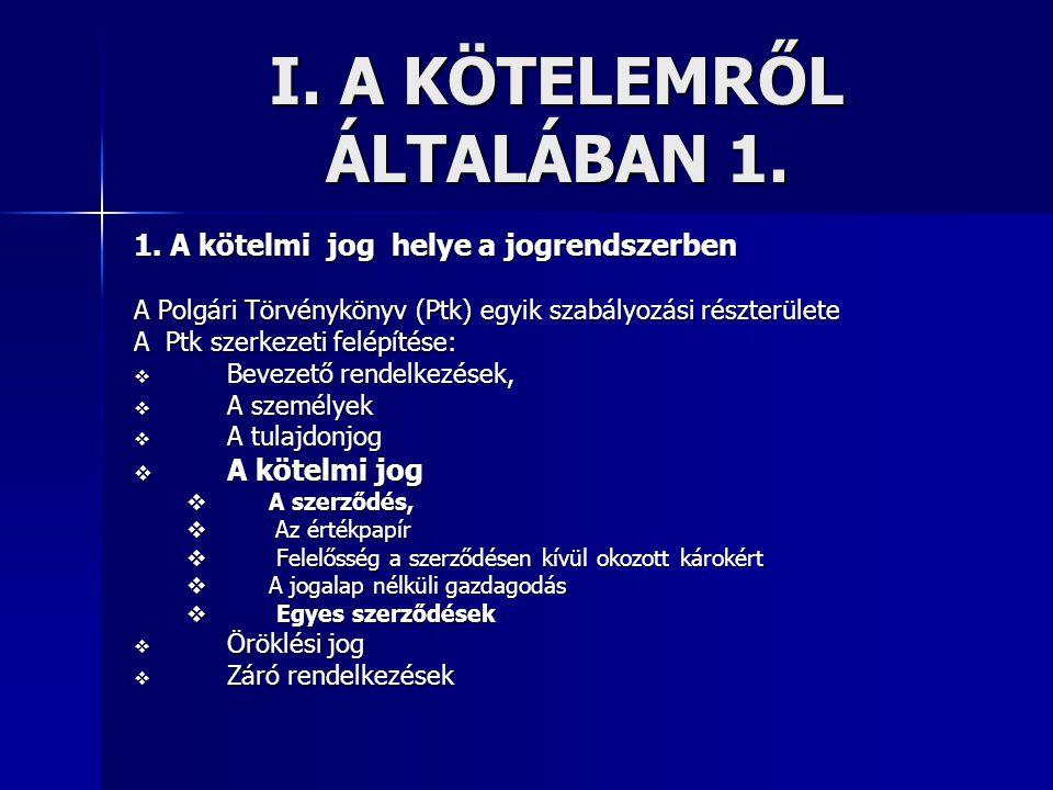 I. A KÖTELEMRŐL ÁLTALÁBAN 1.