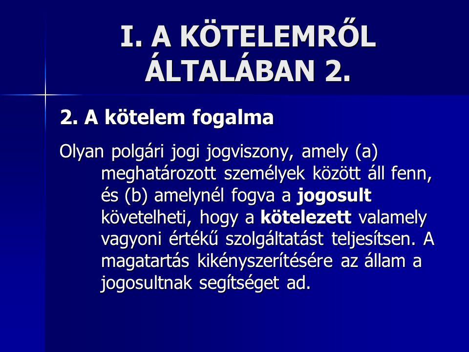 I. A KÖTELEMRŐL ÁLTALÁBAN 2.