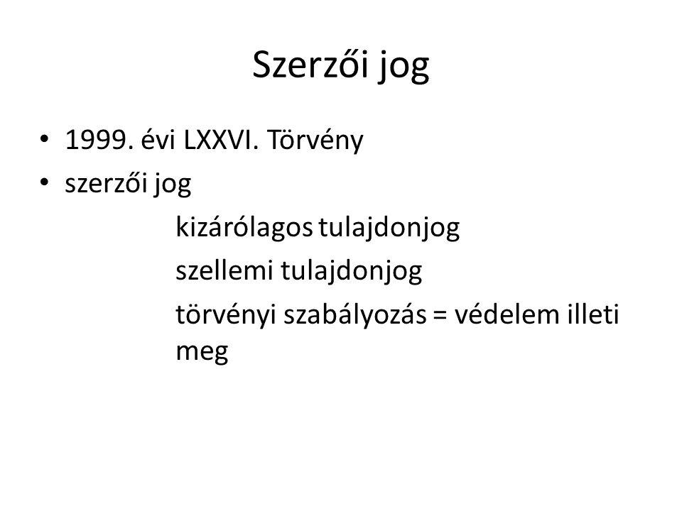 Szerzői jog 1999. évi LXXVI. Törvény szerzői jog