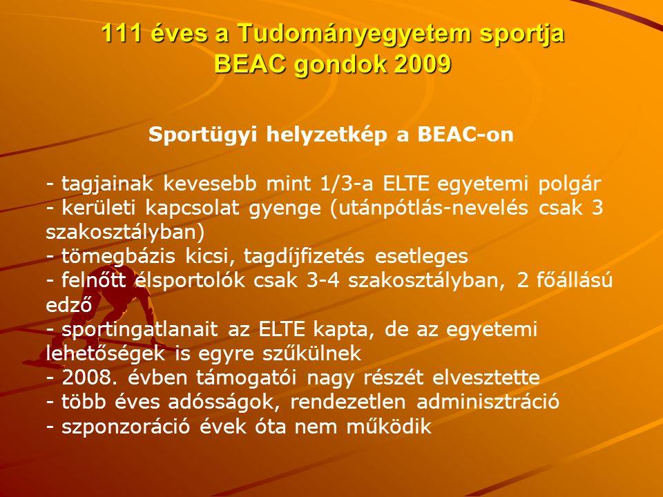 111 éves a Tudományegyetem sportja BEAC gondok 2009