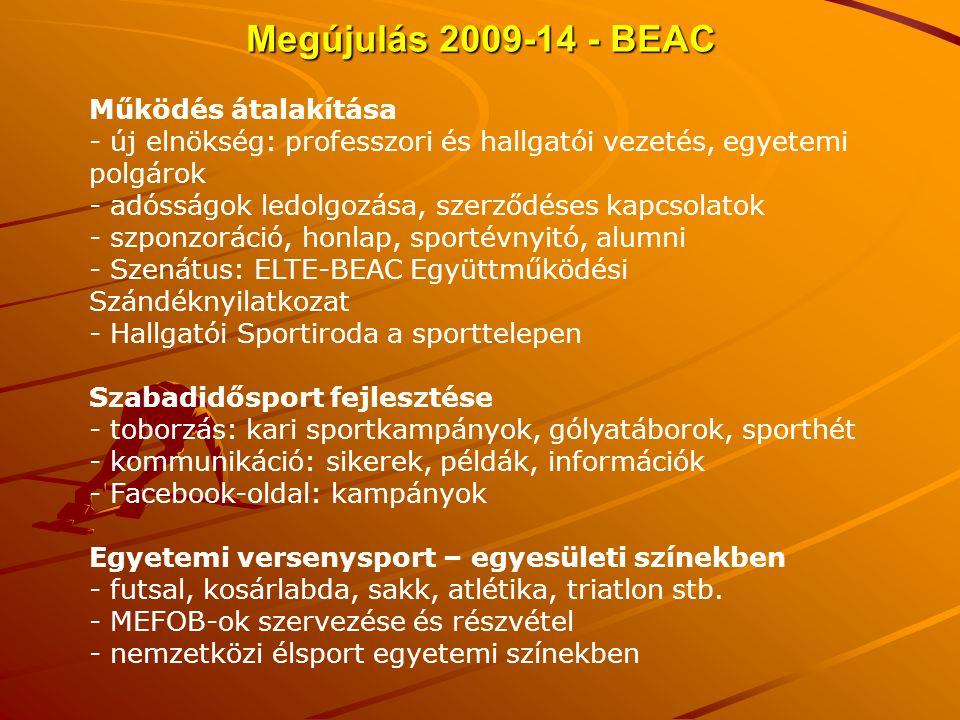 Megújulás 2009-14 - BEAC Működés átalakítása
