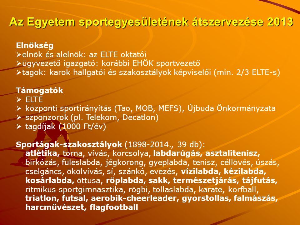 Az Egyetem sportegyesületének átszervezése 2013