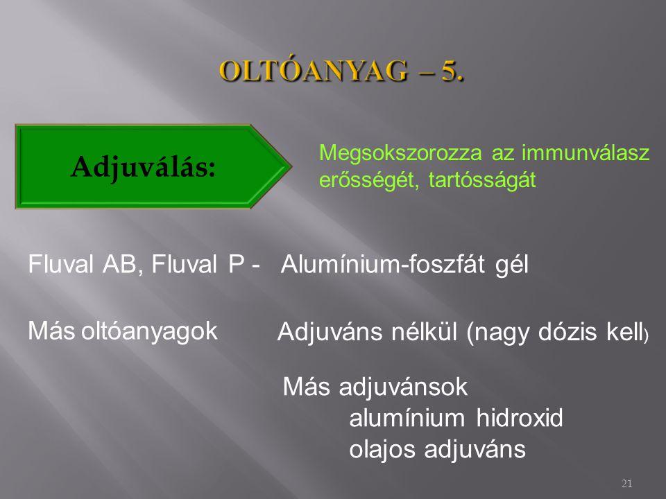 OLTÓANYAG – 5. Adjuválás: Fluval AB, Fluval P - Alumínium-foszfát gél