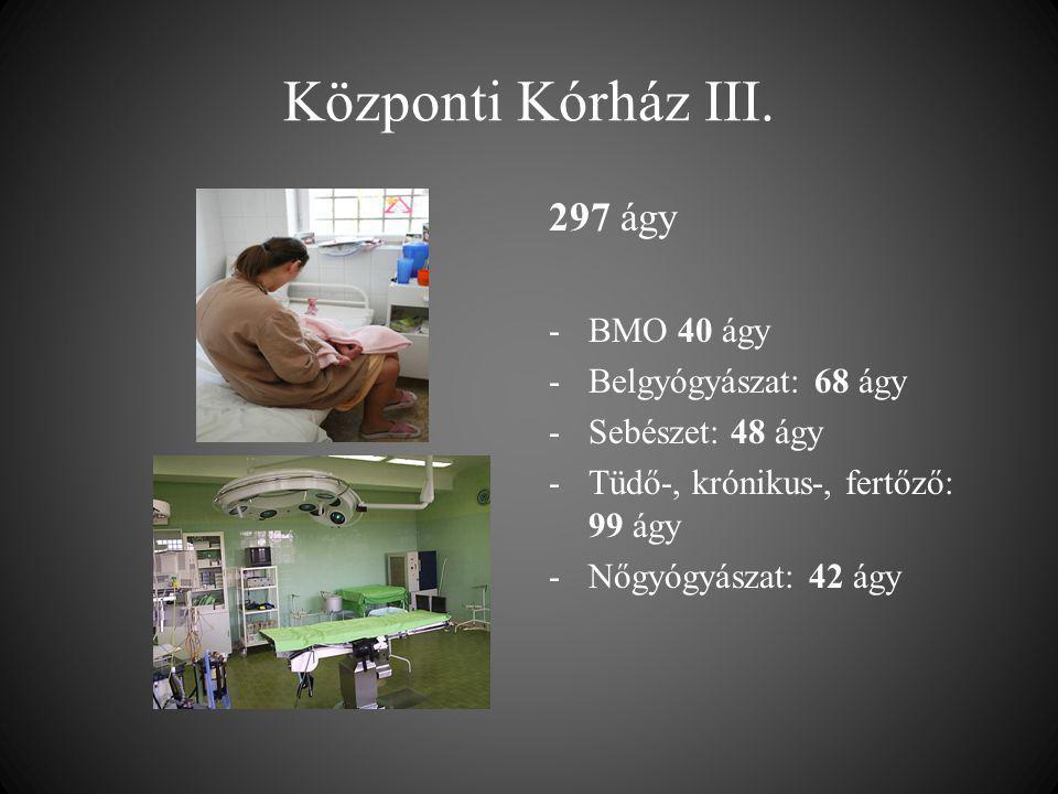 Központi Kórház III. 297 ágy BMO 40 ágy Belgyógyászat: 68 ágy