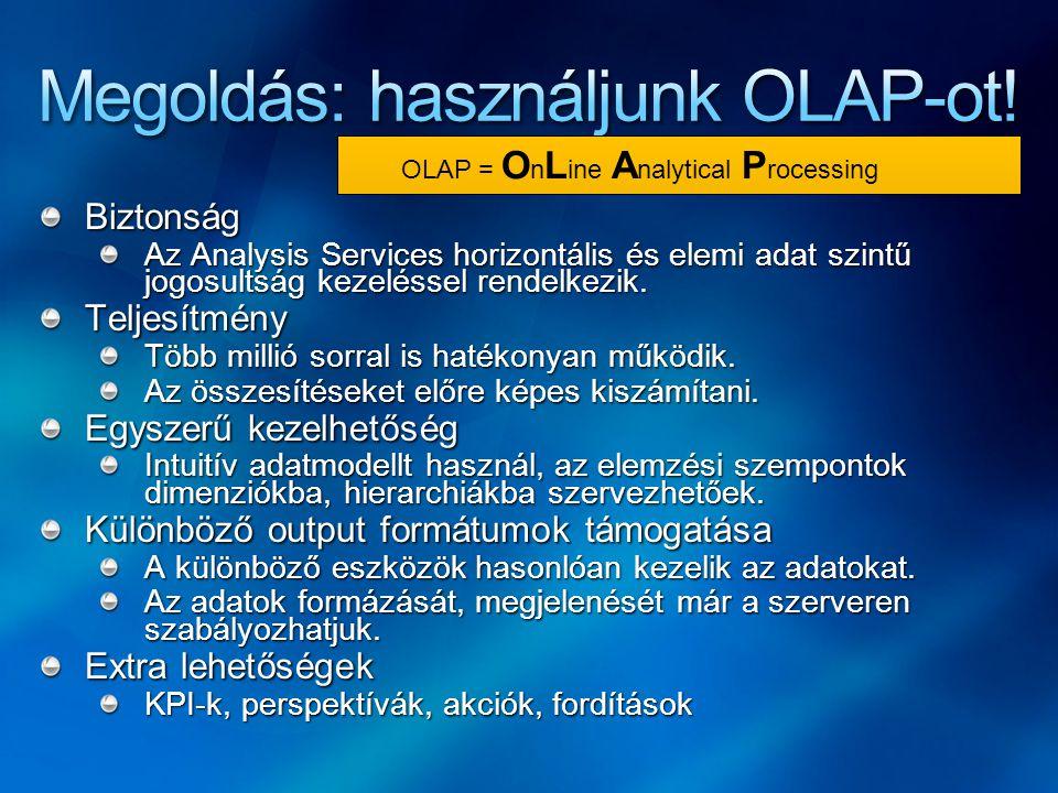 Megoldás: használjunk OLAP-ot!