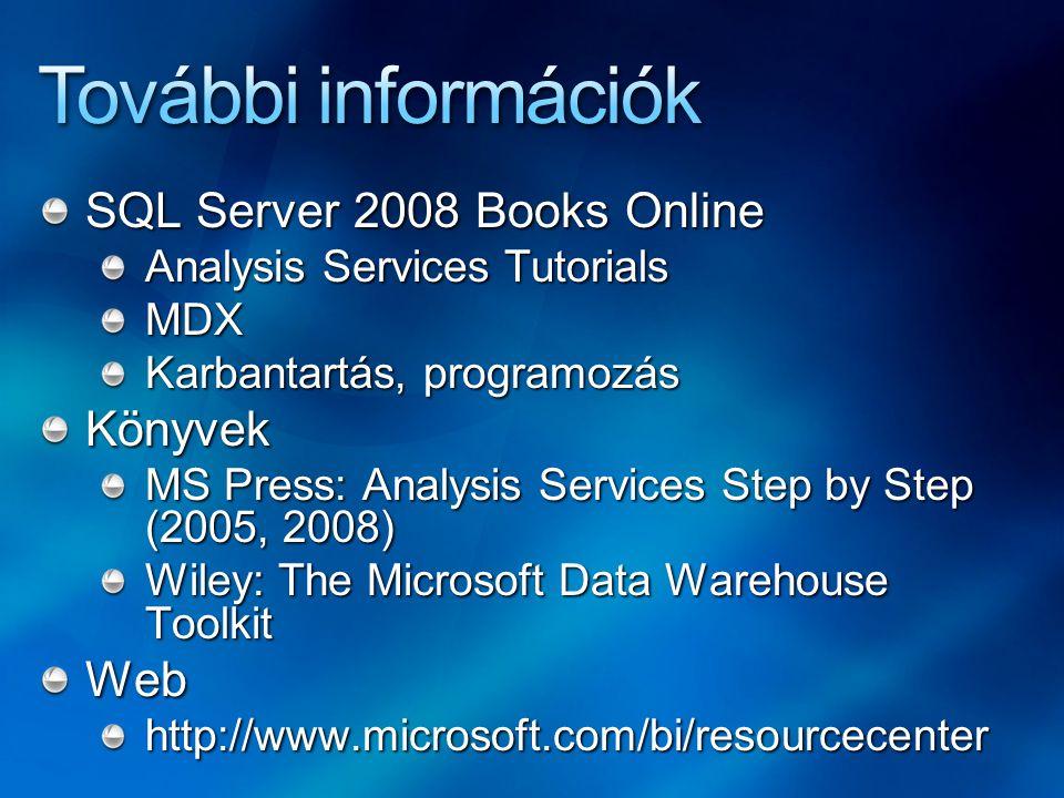 További információk SQL Server 2008 Books Online Könyvek Web