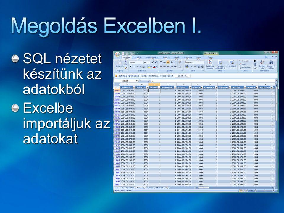 Megoldás Excelben I. SQL nézetet készítünk az adatokból