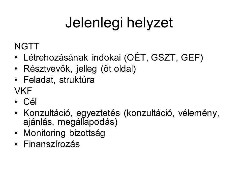 Jelenlegi helyzet NGTT Létrehozásának indokai (OÉT, GSZT, GEF)