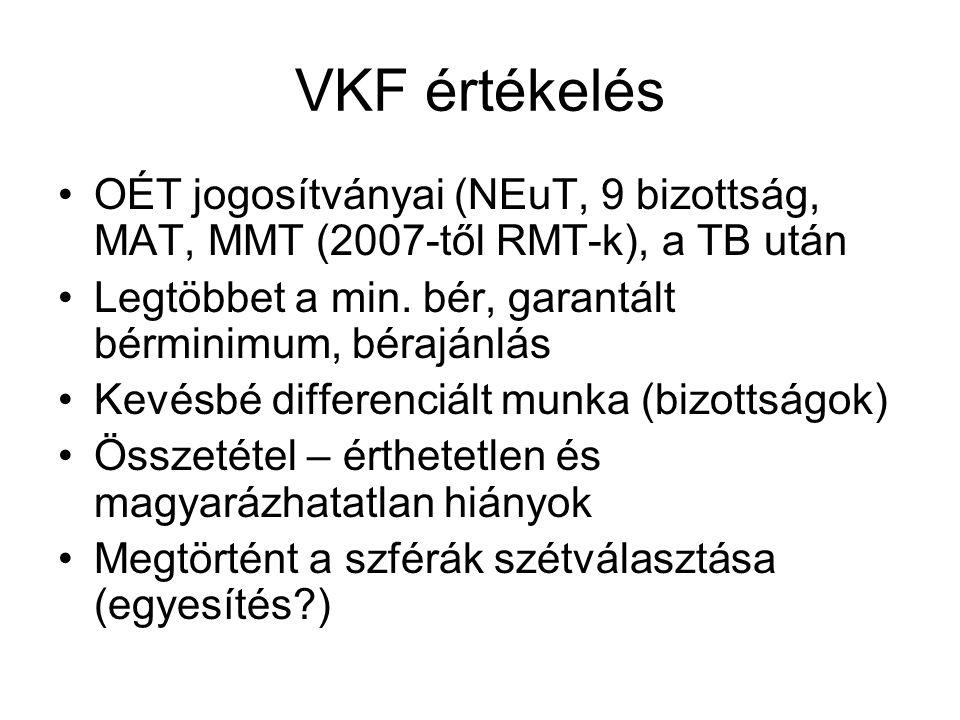 VKF értékelés OÉT jogosítványai (NEuT, 9 bizottság, MAT, MMT (2007-től RMT-k), a TB után. Legtöbbet a min. bér, garantált bérminimum, bérajánlás.