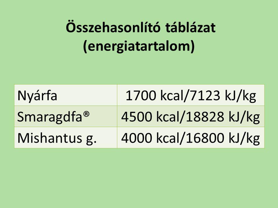 Összehasonlító táblázat (energiatartalom)