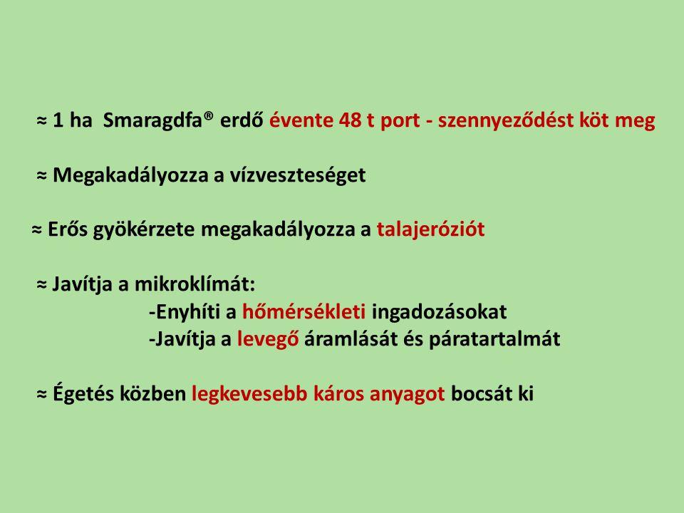 ≈ 1 ha Smaragdfa® erdő évente 48 t port - szennyeződést köt meg ≈ Megakadályozza a vízveszteséget ≈ Erős gyökérzete megakadályozza a talajeróziót ≈ Javítja a mikroklímát: -Enyhíti a hőmérsékleti ingadozásokat -Javítja a levegő áramlását és páratartalmát ≈ Égetés közben legkevesebb káros anyagot bocsát ki