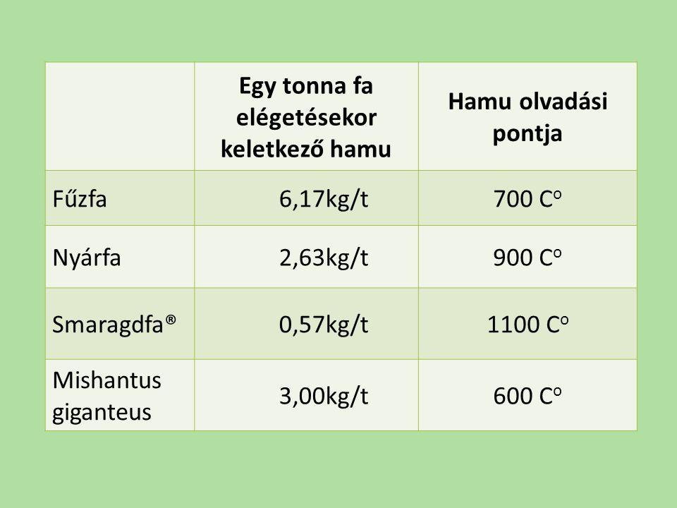 Egy tonna fa elégetésekor keletkező hamu