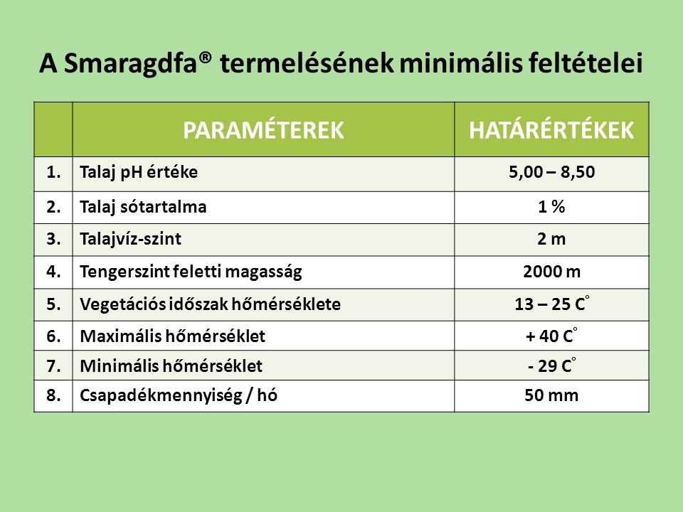 A Smaragdfa® termelésének minimális feltételei
