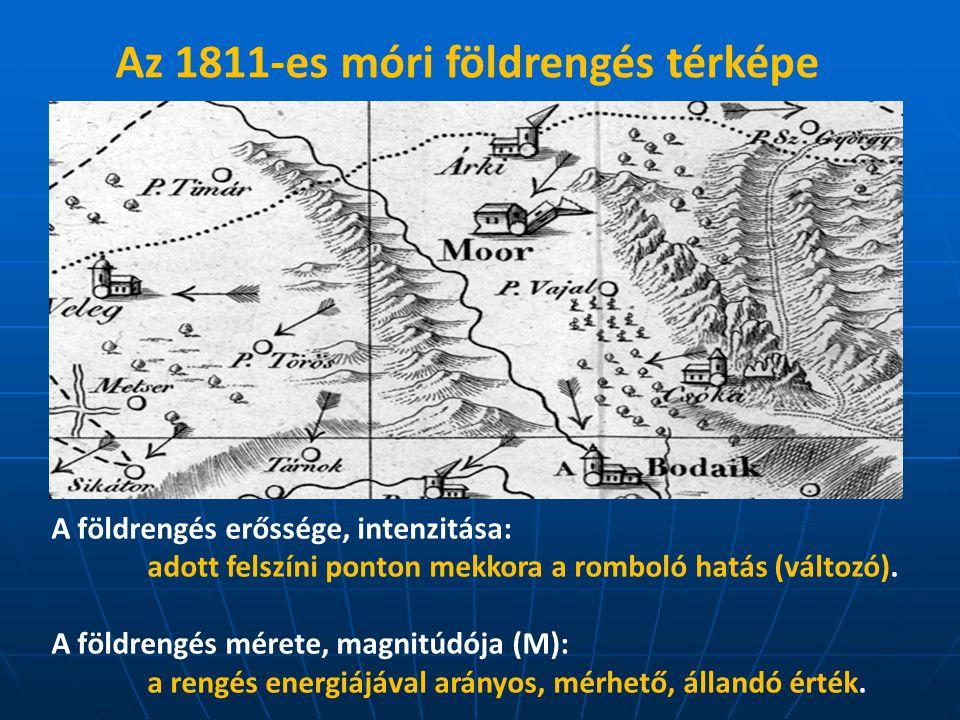 Az 1811-es móri földrengés térképe (Kitaibel Pál)