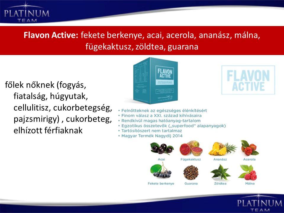 Flavon Active: fekete berkenye, acai, acerola, ananász, málna, fügekaktusz, zöldtea, guarana