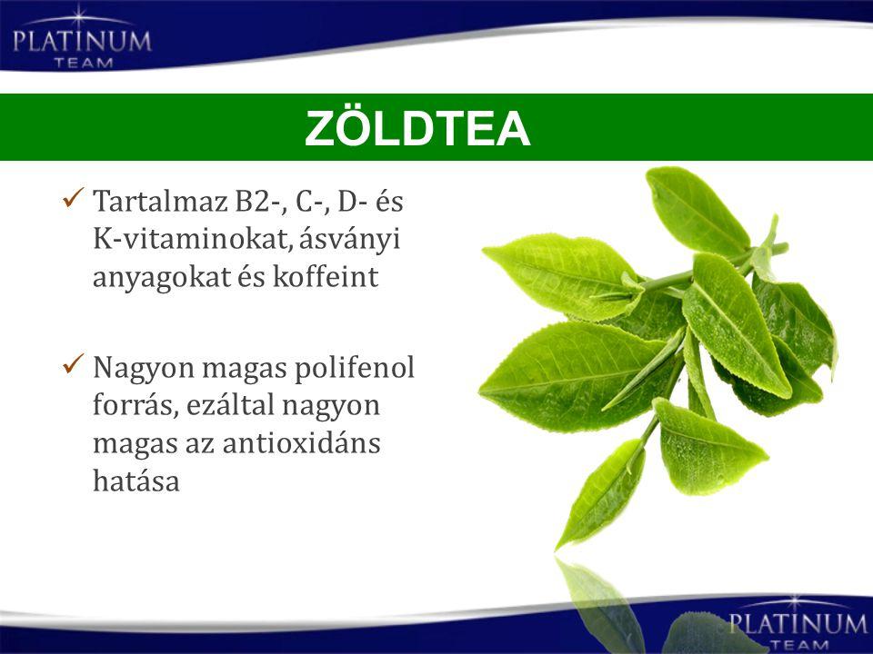 ZÖLDTEA Tartalmaz B2-, C-, D- és K-vitaminokat, ásványi anyagokat és koffeint.