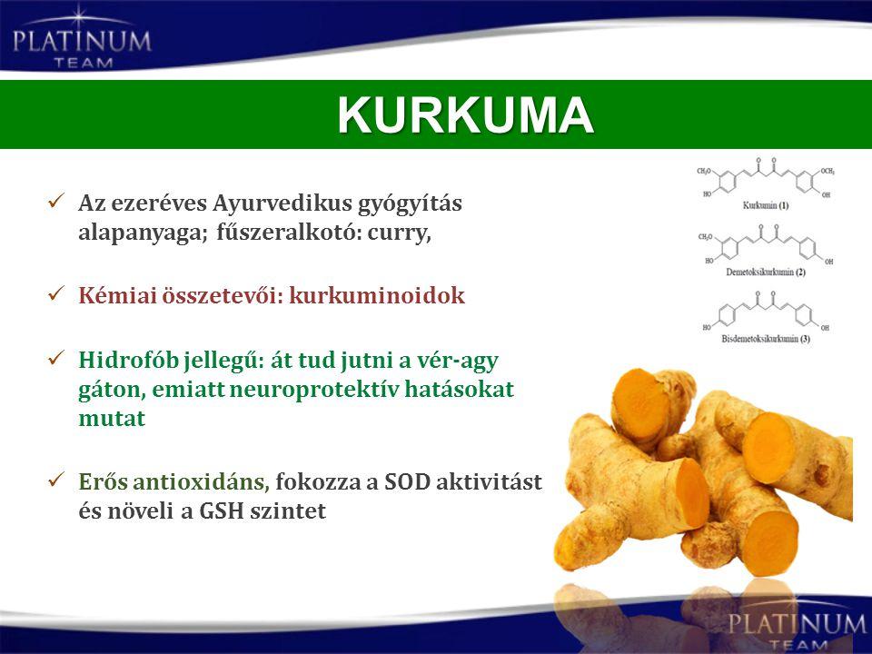 KURKUMA Az ezeréves Ayurvedikus gyógyítás alapanyaga; fűszeralkotó: curry, Kémiai összetevői: kurkuminoidok.
