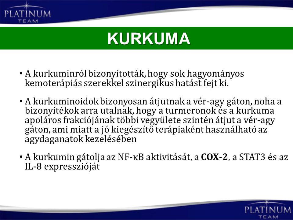 KURKUMA A kurkuminról bizonyították, hogy sok hagyományos kemoterápiás szerekkel szinergikus hatást fejt ki.
