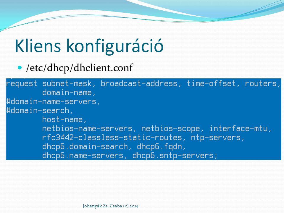 Kliens konfiguráció /etc/dhcp/dhclient.conf