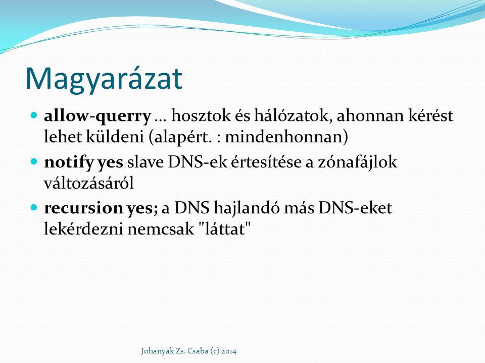 Magyarázat allow-querry … hosztok és hálózatok, ahonnan kérést lehet küldeni (alapért. : mindenhonnan)