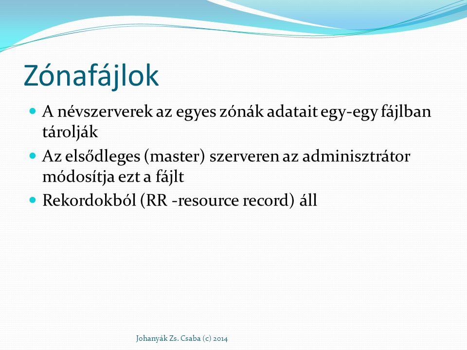 Zónafájlok A névszerverek az egyes zónák adatait egy-egy fájlban tárolják. Az elsődleges (master) szerveren az adminisztrátor módosítja ezt a fájlt.