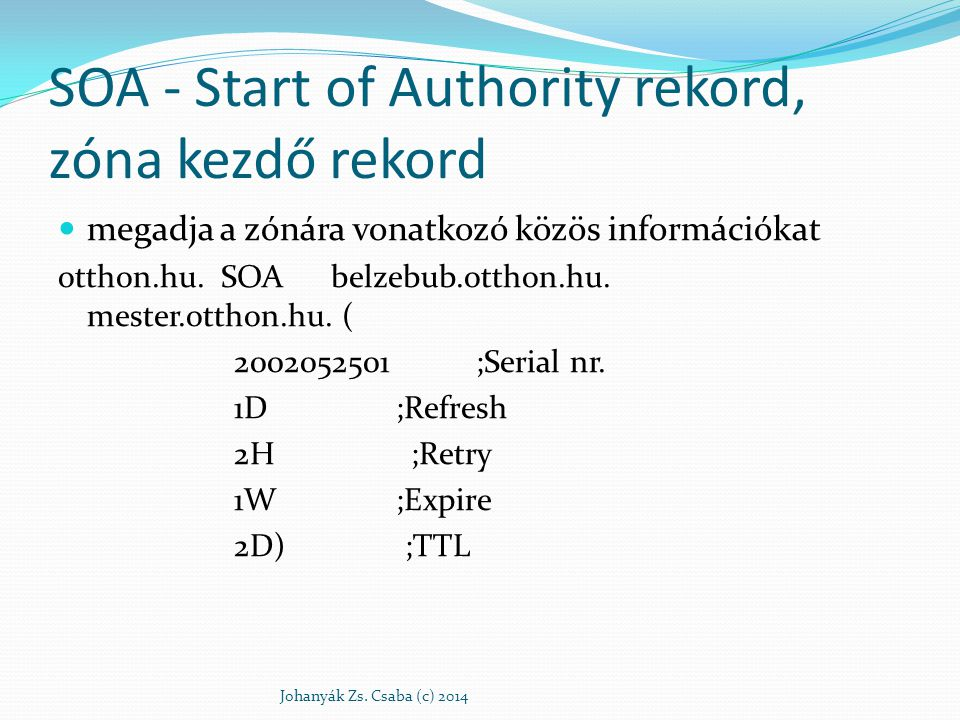 SOA - Start of Authority rekord, zóna kezdő rekord