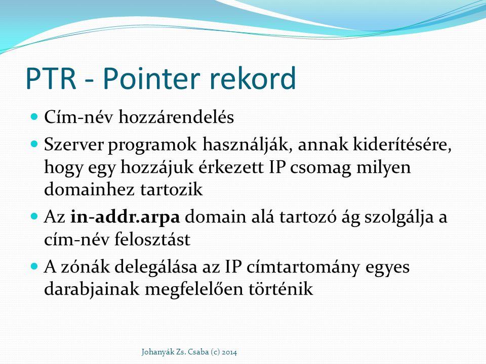 PTR - Pointer rekord Cím-név hozzárendelés