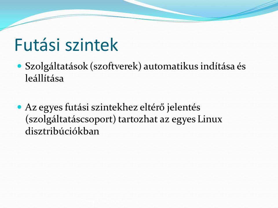 Futási szintek Szolgáltatások (szoftverek) automatikus indítása és leállítása.