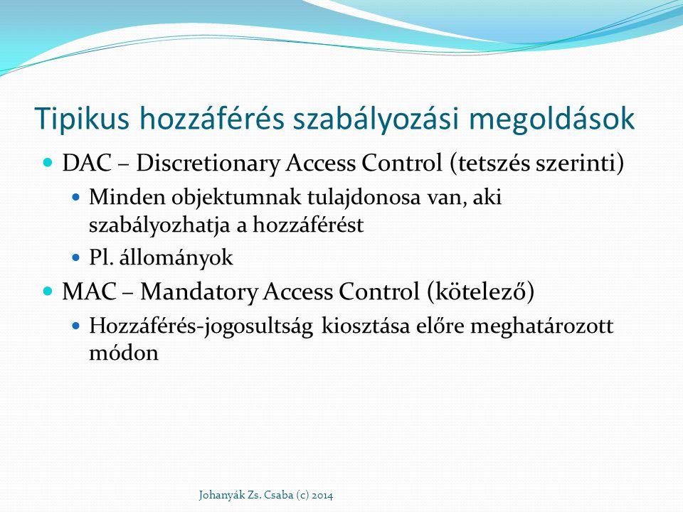 Tipikus hozzáférés szabályozási megoldások