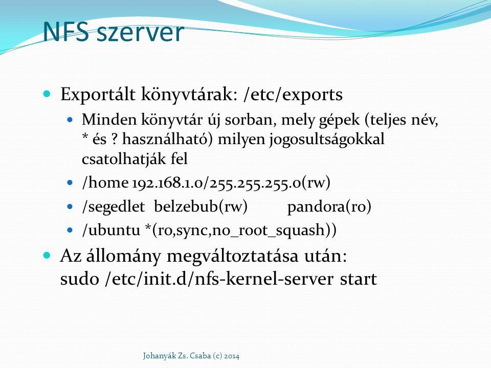 NFS szerver Exportált könyvtárak: /etc/exports